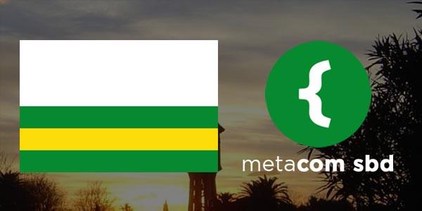 Foto del logotipo de Metacom SBD y bandera de Sabadell