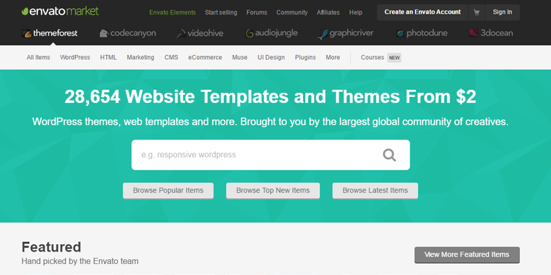 Web de Themeforest para elegir plantillas de CMS