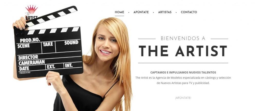 Pantallazo página web The Artist Agencia